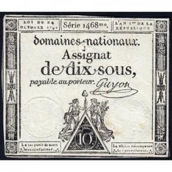 Assignat 34a - 10 sous - 24 octobre 1792 - Série 1468 - Etat : TB+
