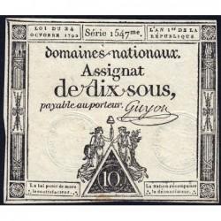 Assignat 34a - 10 sous - 24 octobre 1792 - Série 1547 - Etat : TTB