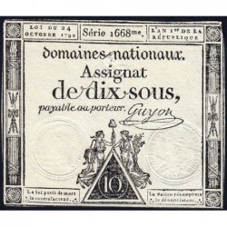 Assignat 34a - 10 sous - 24 octobre 1792 - Série 1668 - Etat : TB+