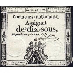 Assignat 34a - 10 sous - 24 octobre 1792 - Série 1711 - Etat : TB