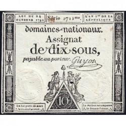 Assignat 34a - 10 sous - 24 octobre 1792 - Série 1711 - Etat : TB+