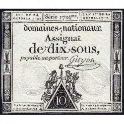 Assignat 34a - 10 sous - 24 octobre 1792 - Série 1724 - Etat : TTB