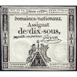 Assignat 34a - 10 sous - 24 octobre 1792 - Série 1733 - Etat : TTB+