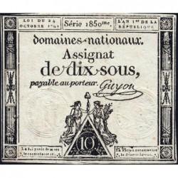Assignat 34a - 10 sous - 24 octobre 1792 - Série 1850 - Etat : TB