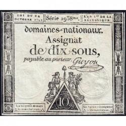 Assignat 34a - 10 sous - 24 octobre 1792 - Série 1938 - Etat : TB