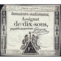 Assignat 34a - 10 sous - 24 octobre 1792 - Série 1950 - Etat : TB-
