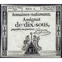 Assignat 40a - 10 sous - 23 mai 1793 - Série 2 - Filigrane royal - Etat : TTB+