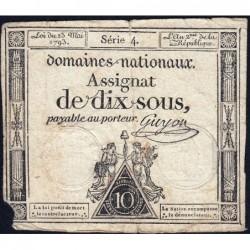 Assignat 40a - 10 sous - 23 mai 1793 - Série 4 - Filigrane royal - Etat : B