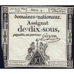 Assignat 40a - 10 sous - 23 mai 1793 - Série 4 - Filigrane royal - Etat : TB+