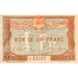 Le Tréport - Pirot 71-33 variété - 1 franc - Lettre A - Série I - 8e émission - 1916 - Etat : TTB