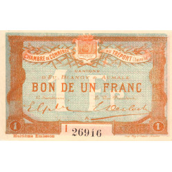 Le Tréport - Pirot 71-33 - 1 franc - Lettre A - Série I - 8e émission - 1916 - Etat : SPL