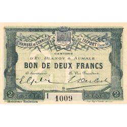 Le Tréport (Eu, Blangy, Aumale) - Pirot 71-34a-I - 2 francs - 1916 - Etat : SUP+