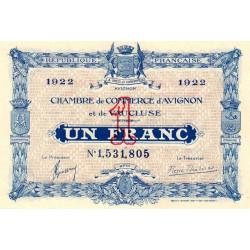 Avignon - Pirot 18-29 - 1 franc - 26/10/1921 - Etat : SPL