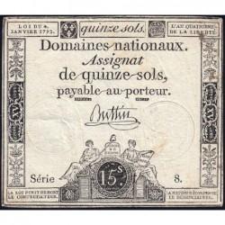Assignat 24a - 15 sols - 4 janvier 1792 - Série 8 - Etat : TB+