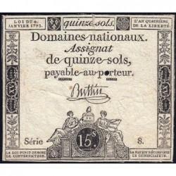 Assignat 24a - 15 sols - 4 janvier 1792 - Série 8 - Etat : TB