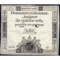 Assignat 24a - 15 sols - 4 janvier 1792 - Série 47 - Etat : TTB+