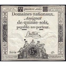 Assignat 24a - 15 sols - 4 janvier 1792 - Série 47 - Etat : TTB