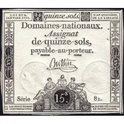 Assignat 24a - 15 sols - 4 janvier 1792 - Série 81 - Etat : TTB+