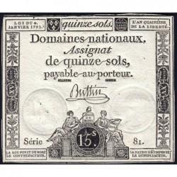 Assignat 24a - 15 sols - 4 janvier 1792 - Série 81 - Etat : SUP