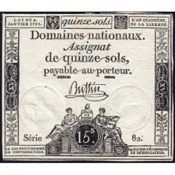 Assignat 24a - 15 sols - 4 janvier 1792 - Série 82 - Etat : TTB+