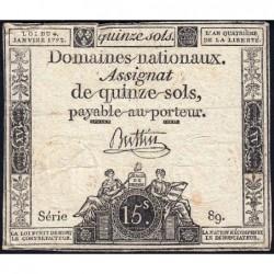 Assignat 24a - 15 sols - 4 janvier 1792 - Série 89 - Etat : TB-