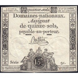Assignat 24a - 15 sols - 4 janvier 1792 - Série 91 - Etat : TTB