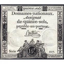 Assignat 24a - 15 sols - 4 janvier 1792 - Série 217 - Etat : SUP