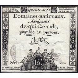Assignat 24a - 15 sols - 4 janvier 1792 - Série 222 - Etat : TTB