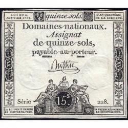 Assignat 24a - 15 sols - 4 janvier 1792 - Série 228 - Etat : TTB