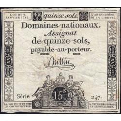 Assignat 24a - 15 sols - 4 janvier 1792 - Série 247 - Etat : TB