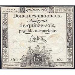Assignat 24a - 15 sols - 4 janvier 1792 - Série 253 - Etat : TB+