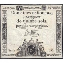 Assignat 24a - 15 sols - 4 janvier 1792 - Série 255 - Etat : TTB