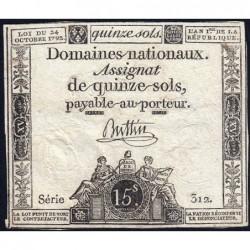 Assignat 24a - 15 sols - 4 janvier 1792 - Série 312 - Etat : TB
