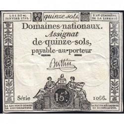 Assignat 24a - 15 sols - 4 janvier 1792 - Série 1066 - Etat : TTB