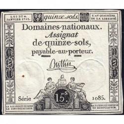 Assignat 24a - 15 sols - 4 janvier 1792 - Série 1085 - Etat : TTB