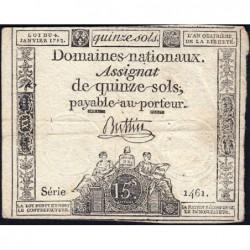 Assignat 24a - 15 sols - 4 janvier 1792 - Série 1461 - Etat : TB