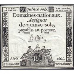 Assignat 24a - 15 sols - 4 janvier 1792 - Série 1664 - Etat : SUP
