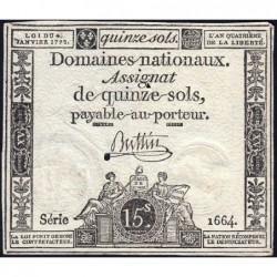 Assignat 24a - 15 sols - 4 janvier 1792 - Série 1664 - Etat : TB+