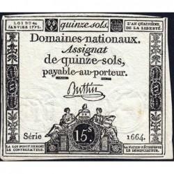 Assignat 24a - 15 sols - 4 janvier 1792 - Série 1664 - Etat : TTB