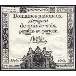 Assignat 24a - 15 sols - 4 janvier 1792 - Série 1673 - Etat : SUP