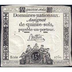 Assignat 24a - 15 sols - 4 janvier 1792 - Série 1751 - Etat : TTB