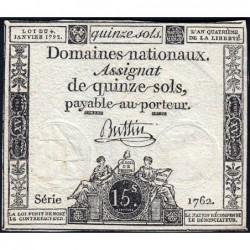 Assignat 24a - 15 sols - 4 janvier 1792 - Série 1762 - Etat : TB+