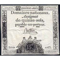 Assignat 24a - 15 sols - 4 janvier 1792 - Série 1763 - Etat : SUP