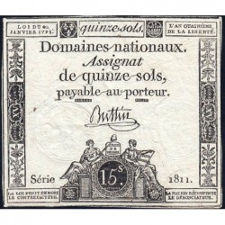Assignat 24a - 15 sols - 4 janvier 1792 - Série 1811 - Etat : TB+