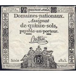 Assignat 24a - 15 sols - 4 janvier 1792 - Série 1815 - Etat : TB+