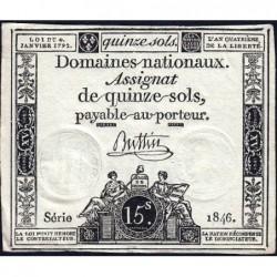 Assignat 24a - 15 sols - 4 janvier 1792 - Série 1846 - Etat : TTB+
