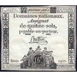 Assignat 24a - 15 sols - 4 janvier 1792 - Série 1922 - Etat : TTB