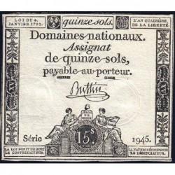 Assignat 24a - 15 sols - 4 janvier 1792 - Série 1945 - Etat : TTB