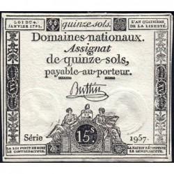 Assignat 24a - 15 sols - 4 janvier 1792 - Série 1957 - Etat : SUP