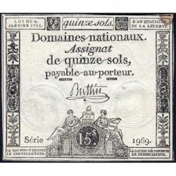Assignat 24a - 15 sols - 4 janvier 1792 - Série 1969 - Etat : TTB